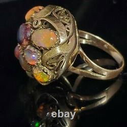 Arts and Crafts Era Opal 14k Yellow Gold Dome Cocktail Ring Cluster Early 1900s