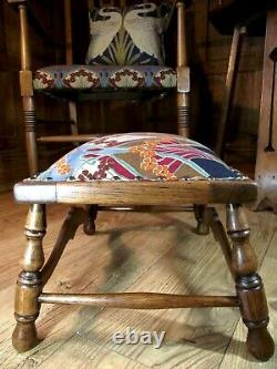 Arts and Crafts Footstool C1900 All New Upholstery, Fully Restored