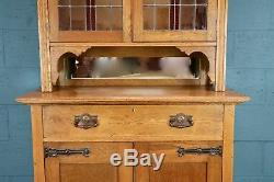 Arts and Crafts Glazed bookcase, stained glass doors (100634)