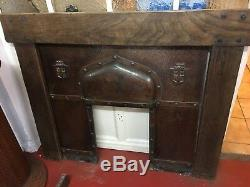 Arts and Crafts Gothic Revival Cast Iron & Copper Fireplace with Oak Surround