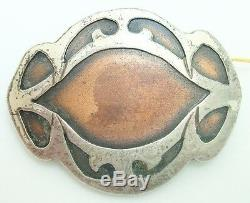 Arts and Crafts Heintz Sterling and Copper Pin (#J2520)