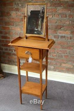 Arts and Crafts Light Oak Shaving Stand