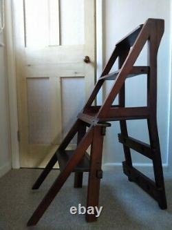 Arts and Crafts Metamorphic chair steps ladder oak late Victorian