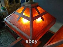Arts and Crafts Mica Copper Table Lamps Matched Pair Arts and Crafts