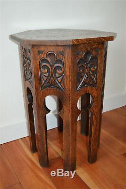 Arts and Crafts Moorish carved oak octagonal table English circa. 1910