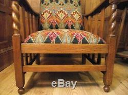 Arts and Crafts Morris Chair Circa 1900 -All New Upholstery & Restored Oak Frame