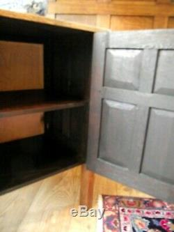 Arts and Crafts Oak Cupboard Cabinet with Carved Panels