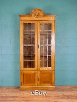 Arts and Crafts Oak Glazed Bookcase (100607)