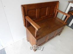 Arts and Crafts Oak Monks Bench, Gothic Church Seat / Box c1900 Original Antique