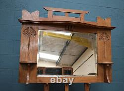 Arts and Crafts Oak Overmantle Mirror (100866)