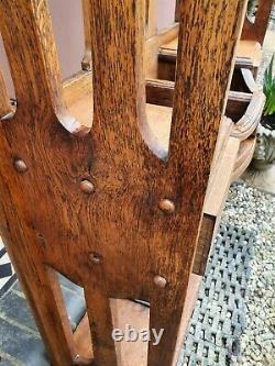 Arts and Crafts Oak Umbrella Mirrored Hallstand