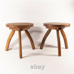 Arts and Crafts Pair of Liberty & Co Thebes Oak Stools