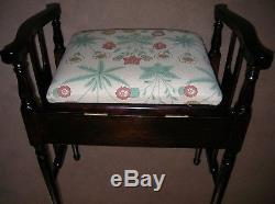 Arts and Crafts Piano Stool Dark Beech Wood Finish With Floral Motif