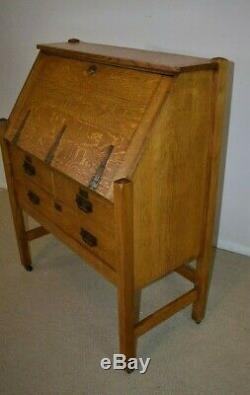 Arts and Crafts Quarter Sawn Oak Drop Front Desk