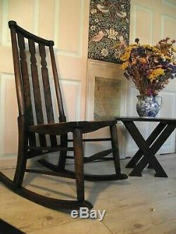Arts and Crafts Rocking Chair Circa 1900 with Original Ivorine Label F. G. Rhodes