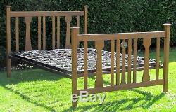 Arts and Crafts Ruskin Jewel Golden Oak Standard Double Bed Original Base