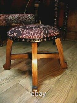 Arts and Crafts Stool Footstool C1900- Restored& Reupholstered in William Morris
