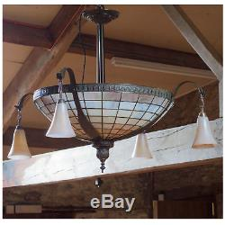 Arts and Crafts Tiffany Style Large Glass and Copper Ceiling Light