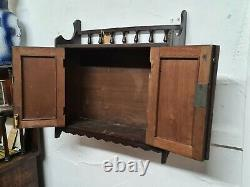 Arts and Crafts Tramp Art Antique Gothic Wall Cabinet