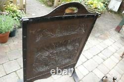 Arts and Crafts Wrought Iron Hammered Copper Fire Screen and Dogs Circa 1880