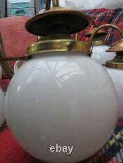 Arts and Crafts brass and copper ceiling light with 6 glass globes