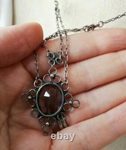 Arts and Crafts c1910 hand crafted silver festoon necklace-Birmingham School