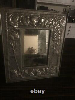 Arts and Crafts rectangular Pewter frame with Mirror 36.5cm x 31cm circa 1905