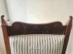 Arts and crafts chairs set, antique, wooden, upholstered, carved detail