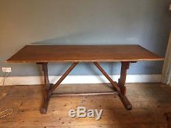 Arts and crafts golden oak refectory table circa 1920's