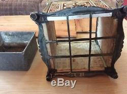 Arts and crafts rare jardiniere flower pot holder brass and Minton tiles
