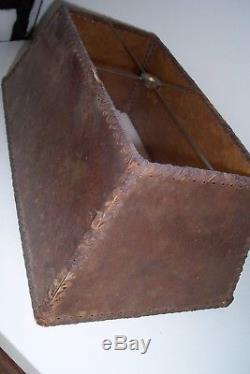 Beautiful Antique Vintage Arts and Crafts Mica Lamp Shade 14x8x5 3/4