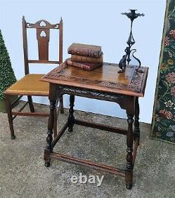 Beautiful Carved Arts And Crafts Oak Side Table