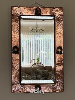 Beautiful Rare Arts And Crafts Beaten Copper Art Nouveau Period Mirror