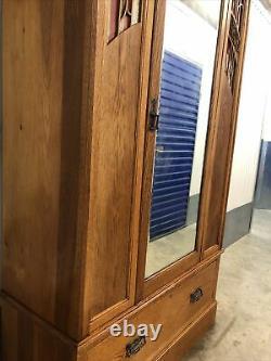 Beautiful Solid Oak Arts And Crafts Mirrored Wardrobe