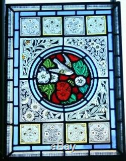 Beautiful Victorian Arts & Crafts Design Bird and Flower Stained Glass Panel