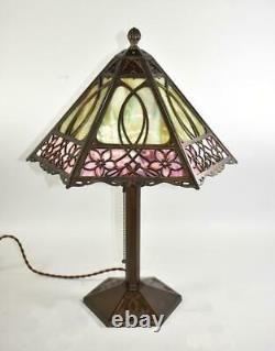 Bradley & Hubbard Arts & Crafts Table Lamp With Hearts and Flowers