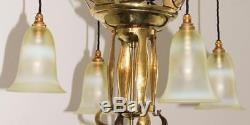 Brass/Vaseline Glass Art Nouveau/Arts and Crafts Ceiling Light/Chandelier c. 1905