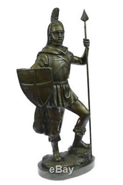 Bronze Sculpture Figure 41.91x22.86 cm Hand Crafted Roman Warrior With Sword And