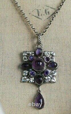 C1900 Arts and Crafts Guilds necklace with silver leaves and amethysts-wonderful