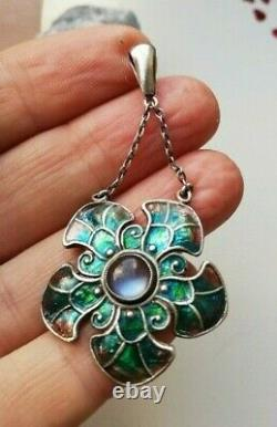 C1905 Liberty & Co Arts and Crafts silver pendant with moonstone and enamel-fab