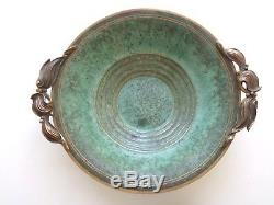 Carl Sorensen bronze 1930's arts and craft verdigris green bowl