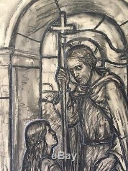 Caroline Townshend. Arts and Crafts stained glass drawing. Suffragette interest