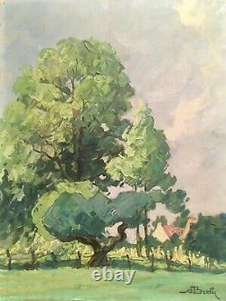 Circa 1910 Arts And Crafts Impressionist Landscape Signed Illegibly