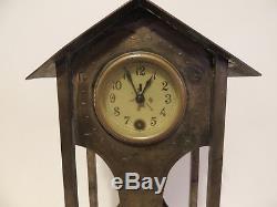 Circa Early 1900's Arts and Craft Bronze Clock with Original Windup Key