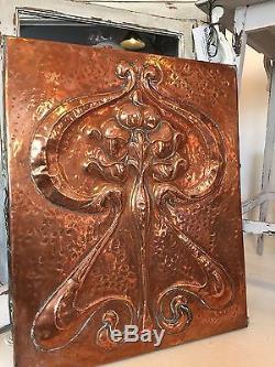 Copper Art nouveau Beaten Panel Arts And Crafts