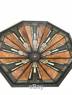 Dale Tiffany Lamp Shade Arts and Crafts Style Mission Mica Stained Glass