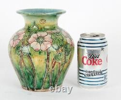 Della Robbia Arts and Crafts Pottery Vase Art Nouveau Birkenhead Pink Roses