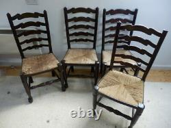 Dining chairs set of 4. Arts and Crafts style. Ladder back, oak frame, rush seat