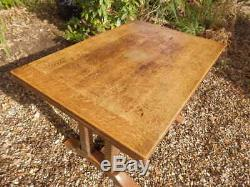 Dining table, Arts and Crafts, draw-leaf, extending, solid oak, beautiful base