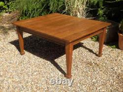 Dining table, solid oak, extending, Arts and Crafts, excellent condition
